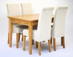 BOW517 Small dining table & 4 chairs (Lusso Plain - Cream) - Angled view